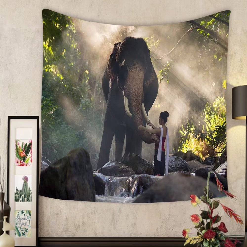 Keshia Dwete Custom tapestry portrait of beautiful rural thai woman wear thai dress with elephant in chiang mai thailand by Keshia Dwete
