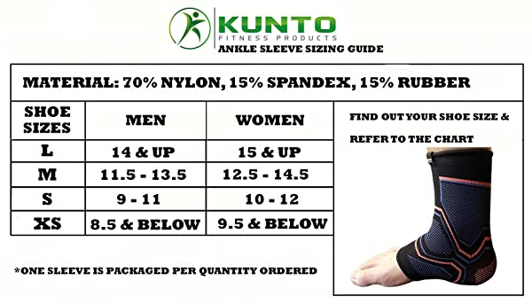 Kunto Fitness Ankle Brace Compression Support Sleeve for Athletics
