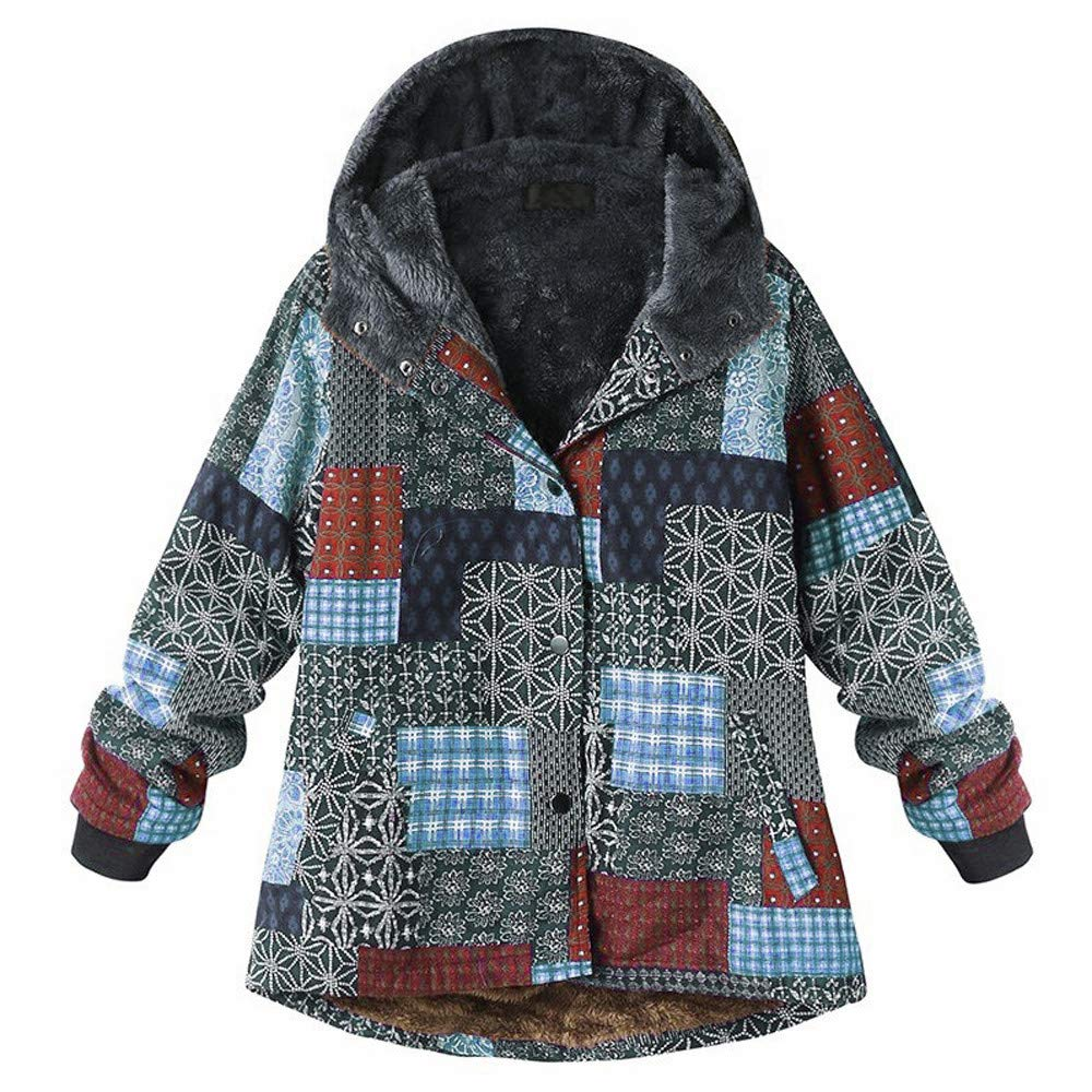 Opinionated Women Winter Warm Thick Fleece Coat Plus Szie Vintage Folk Long Sleeve Button Up Hooded Jacket Parka Blue by Opinionated