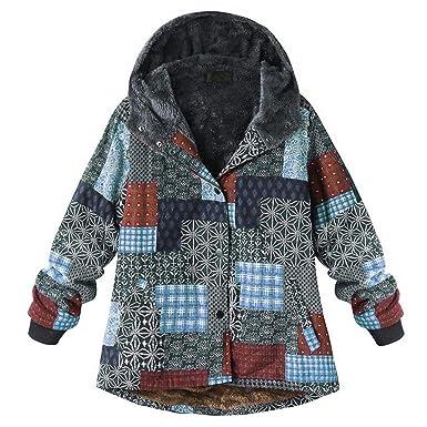 BETTERUU UFACE Plus Size Women Hooded Long Sleeve Vintage Ladies Fleece Thick Coats Zipper Coat