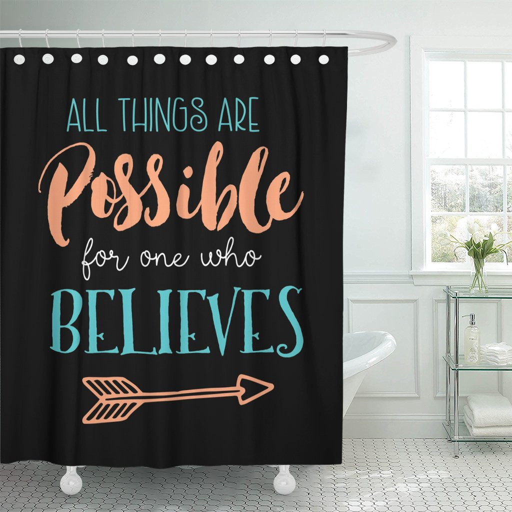 TOMPOP Shower Curtain All Things Are Possible for One Who Believes Biblical Design From Book of Mark with Arrow Accent on Black Waterproof Polyester Fabric 72 x 72 inches Set with Hooks