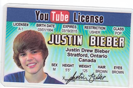amp; Bieber License d Justin com For Toys I Novelty Fans Of Canada Identification Amazon Ontario Games Drivers Fake