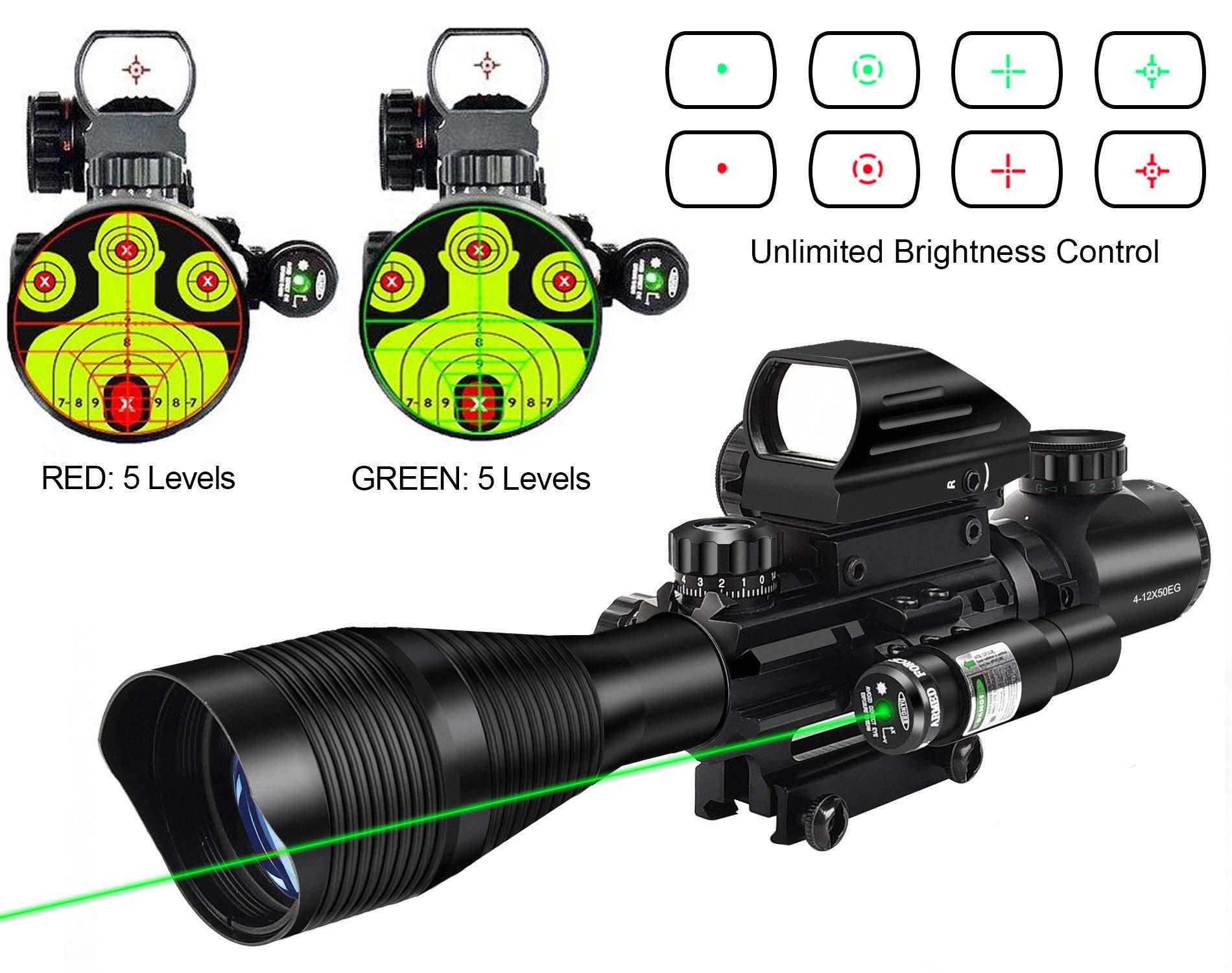 MidTen Riflescope Combo 4-12x50EG Dual Illuminated Optics & IIIA/2MW Laser Sight(Green) & 4 Holographic Reticle Red/Green Dot Sight & 20mm Scope Mount by MidTen