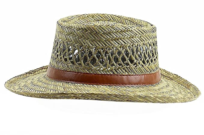 Dorfman Pacific Mens Rush Straw Lightweight Casual Wide Brim Gambler ... 34f106fa709b