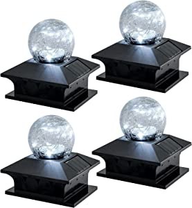 Solar Post Lights Outdoor, Solar Post Cap Lights Crackle Glass Ball Caps Lights for Fence Deck Patio Pathway Garden Decoration, Cool White/Color Changing, Fits 4x4, 6x6 Wooden Posts (4 Pack)