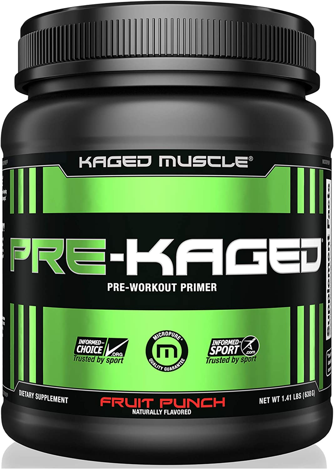 KAGED MUSCLE, PRE-KAGED Pre Workout Powder, L-Citrulline Creatine HCl, Boost Energy, Focus, Workout Intensity, Pre-Workout, Fruit Punch, 20 Servings