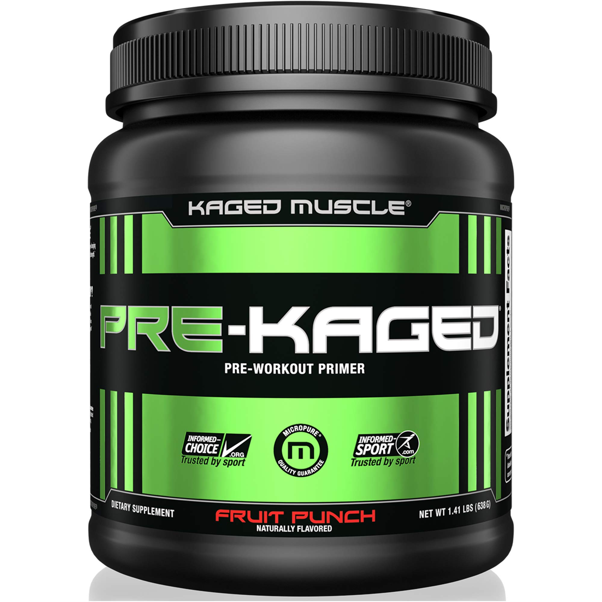 KAGED MUSCLE, PRE-KAGED Pre Workout Powder, Fruit Punch, L-Citrulline + Creatine HCl, Boost Energy, Focus, Workout Intensity, Pre-Workout, Fruit Punch, 638 Grams by Kaged Muscle