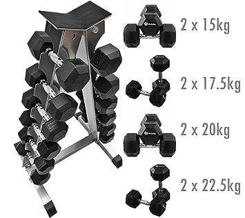 BodyRip - Mancuerna hexagonal 150 kg Juego de pesas con mancuerna ...
