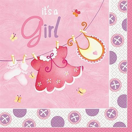 Amazon Pink Clothesline Girl Baby Shower Napkins 16ct Kitchen