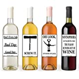 Set of 12 Funny Wine Bottle Labels - 5 Inch X 4 Inch