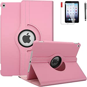 iPad 6th Generation Cases with Screen Protector and Stylus - iPad 9.7 inch Air1 2018 2017 Case Cover - 360 Degree Rotating Stand, Auto Sleep Wake - A1822 A1823 (Light Pink)