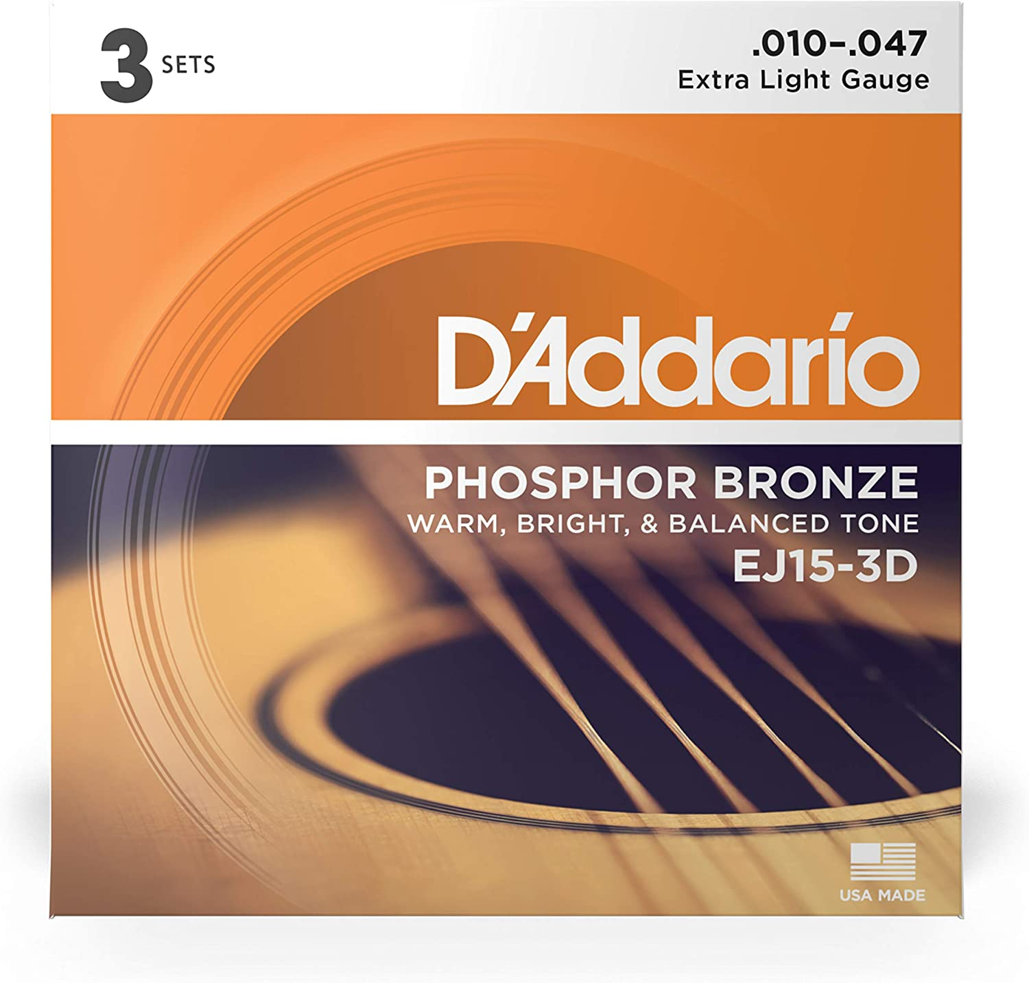 D/'addario 3 Sets EJ15 Extra Light Acoustic Guitar Strings EJ 15 3D Pack 10-47