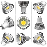 TOP-MAX Pack Of 4 GU10 5W COB LED Bulbs Spotlight 420 Lumen 6000K Day Cool White 90 Beam Angle Non Dimmable 50W Halogen Bulb Equivalent Ultra Bright Energy Saving Lamp Indoor Recessed Track Cabinet Lighting Ceiling Downlight