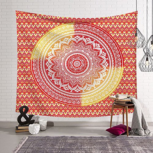 Rich Boxer Indian Mandala Tapestry Beach Throw Tapestry Wall hanging Dorm Decor for Living Room Bedroom Beach (Orange - Indian Boxers