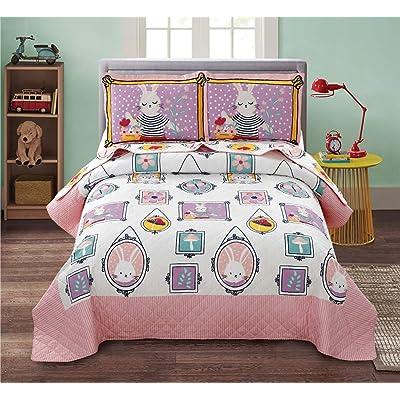 Junsey Girls Quilts Set Rabbit Bedspreads Full/Queen Size,3Pcs Kids Coverlet Set Lightweight Cartoon Bedding Cover Pillow Shams,Pink White: Kitchen & Dining [5Bkhe0307179]
