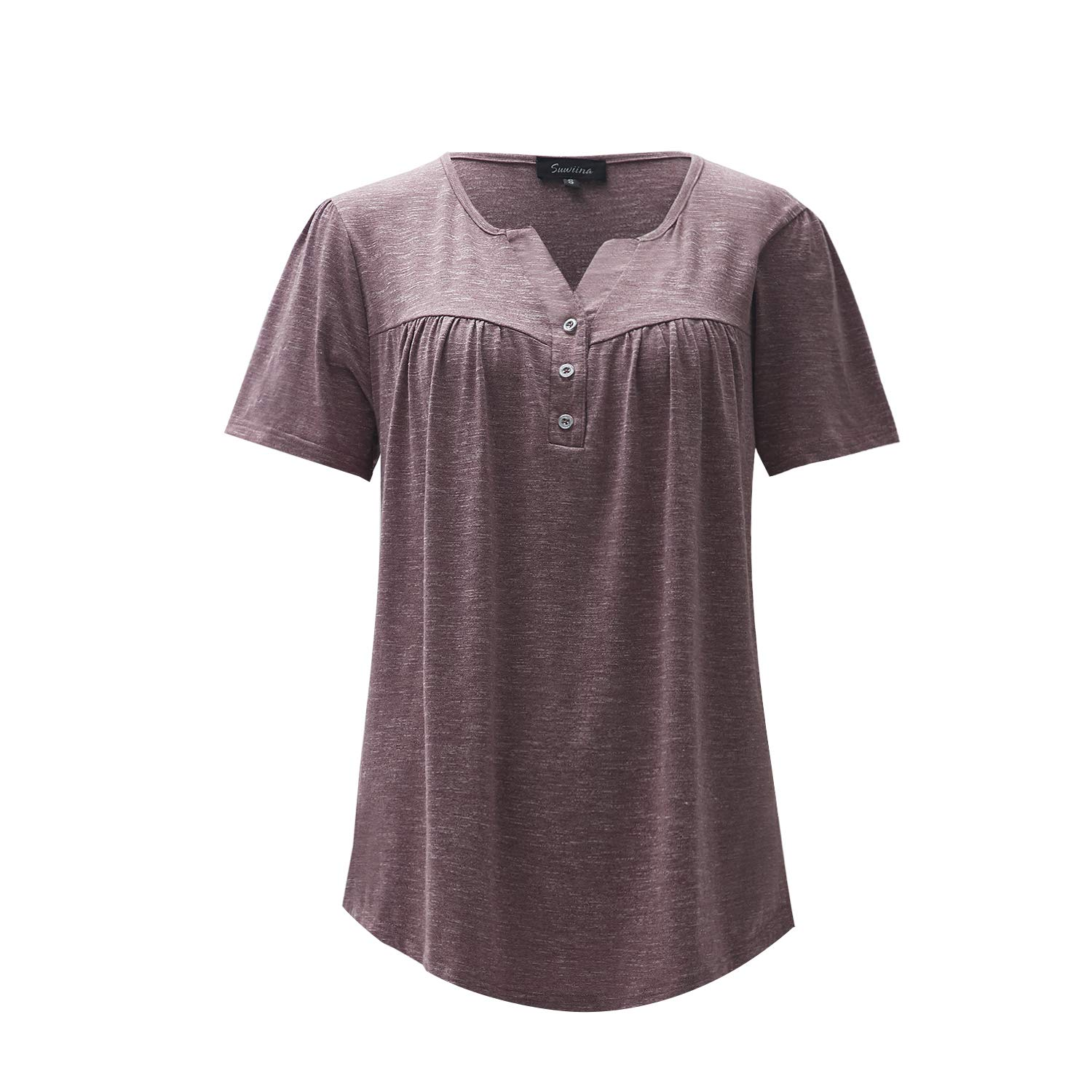 SUWIINA Womens V Neck Short Sleeve Pleated Ruffle Button Up Loose Casual T-Shirts Tunic Tops Blouses Pink Purple