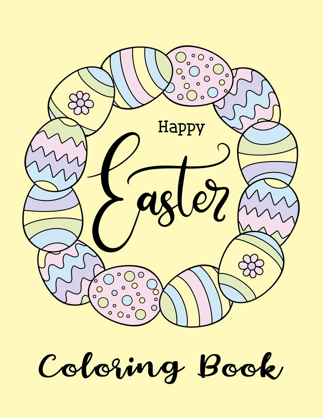 Happy Easter Coloring Book Detailed Rabbit Easter Eggs