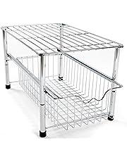 Amtido Stackable Under Sink Cabinet Organiser with Sliding Basket Drawer For Kitchen And Bathroom - Chrome