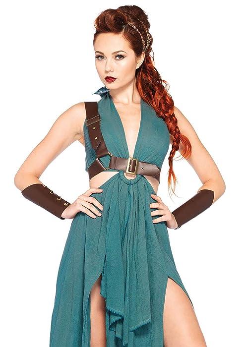 Leg Avenue Women's 4pc.Warrior Maiden,Dress,arm Cuffs,Shoulder Harness,Headpiece, Green, Medium