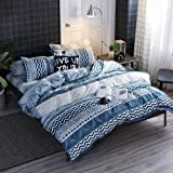 HYPREST Bohemian Duvet Cover Queen Size -Blue and Teal Stiped Duvet Cover Soft Lightweight Comforter Cover Set Hotel Quality