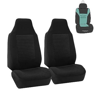 FH-FB107102 Trendy Corduroy Bucket Seat Covers, Airbag compatible, Black color: Automotive