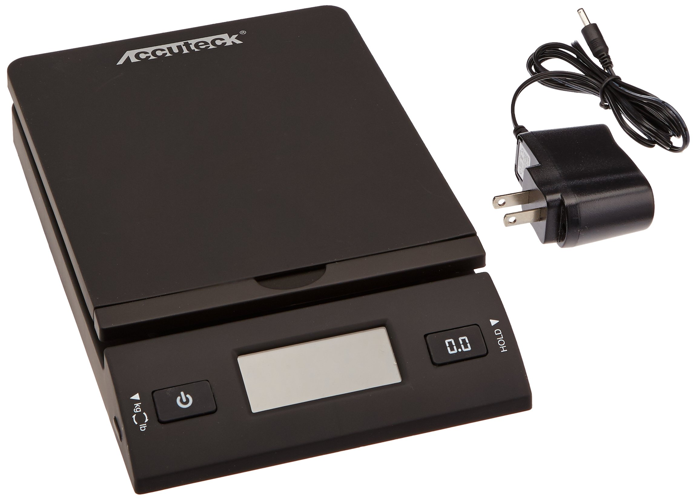 Accuteck 50 lb All-In-One Black Digital Shipping Postal Scale with Adapter (W-8250-50B) by ACCUTECK