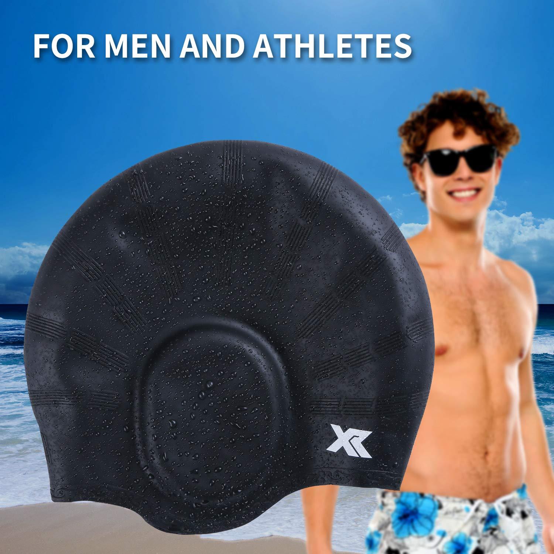 XR Silicone Swim Cap 3D Ergonomic Design Comfortable Durable Ear Protection Universal Sized Swimming Cap for Men Women