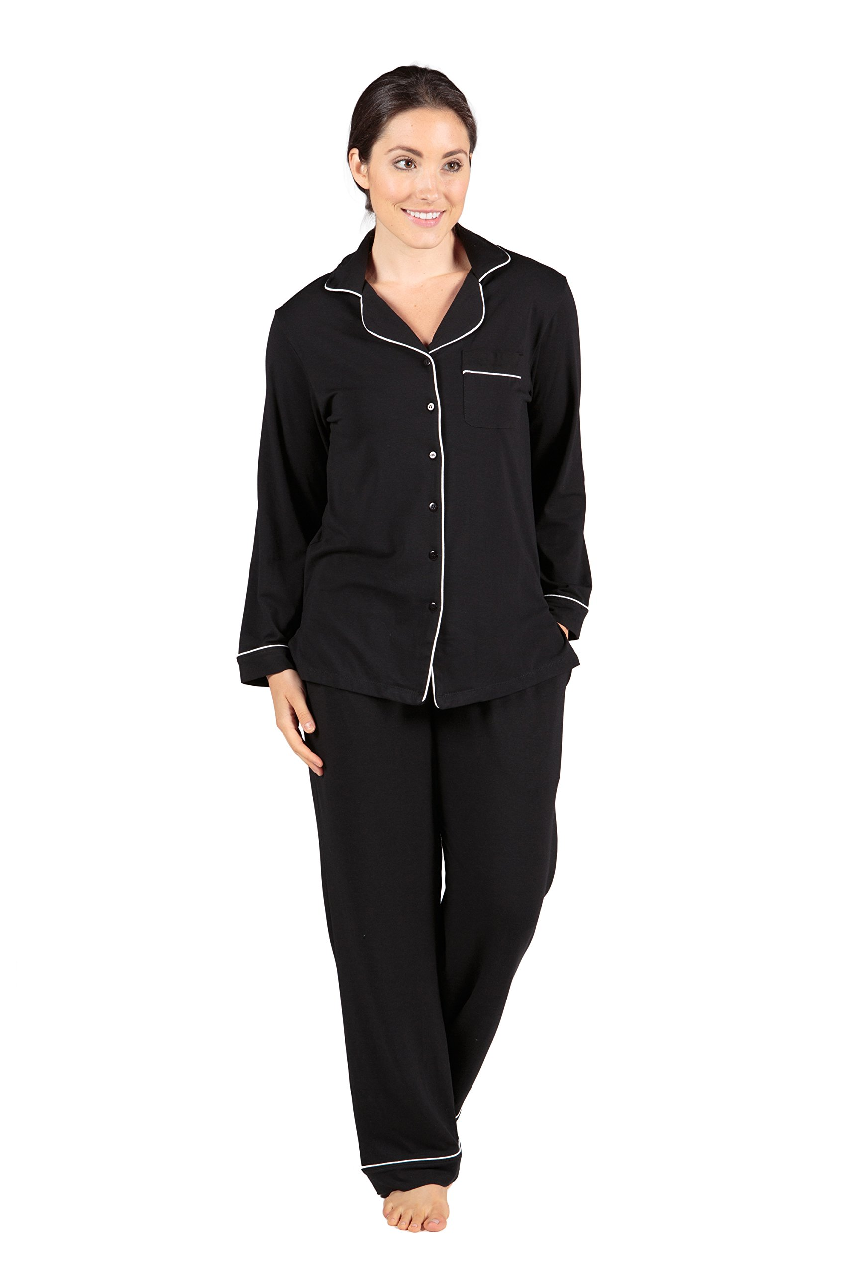 Women's Button-Up Long Sleeve Pajamas - Sleepwear set by Texere (Classicomfort, Black, Small/Petite) Comfy Long Sleeve Pajama Set for Ladies WB0004-BLK-SP