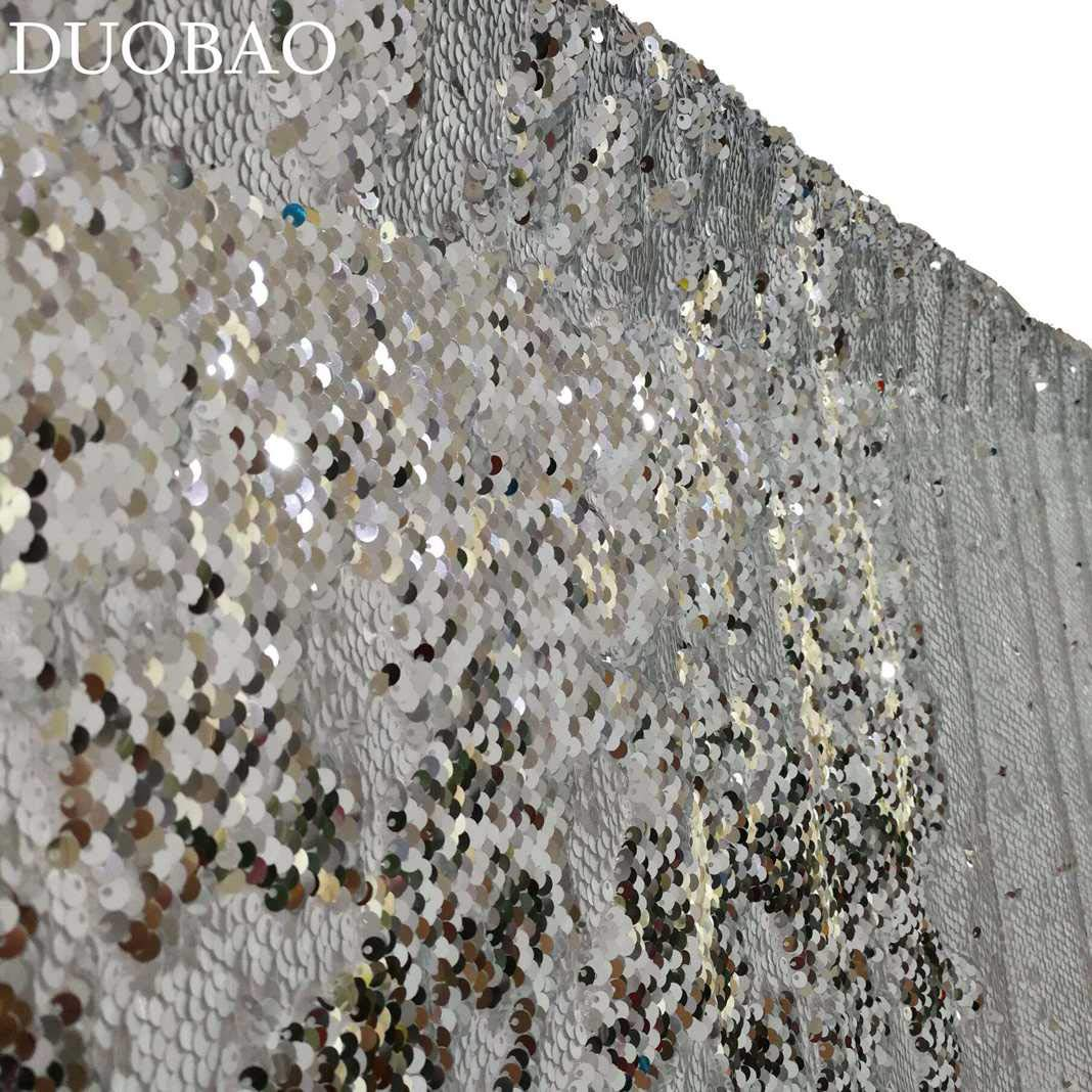 DUOBAO Sequin Backdrop 20FTx10FT White to Silver Wedding Pics Backdrop Mermaid Reversible Sequin Photo Backdrop Baby Shower Curtains by DUOBAO (Image #1)