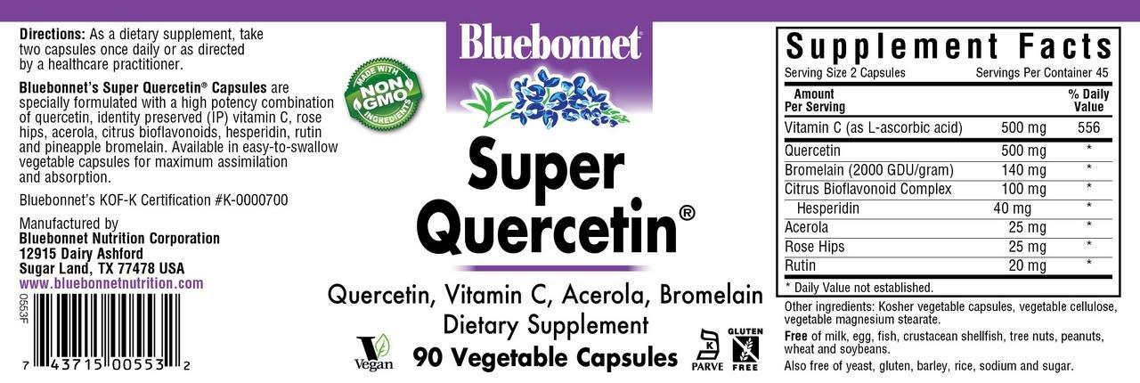 Bluebonnet Nutrition Super Quercetin Vegetable Capsules, Vitamin C Formula, Best for Seasonal & Immune Support, Non GMO, Gluten Free, Soy Free, Milk Free, Kosher, 90 Vegetable Capsules by Bluebonnet