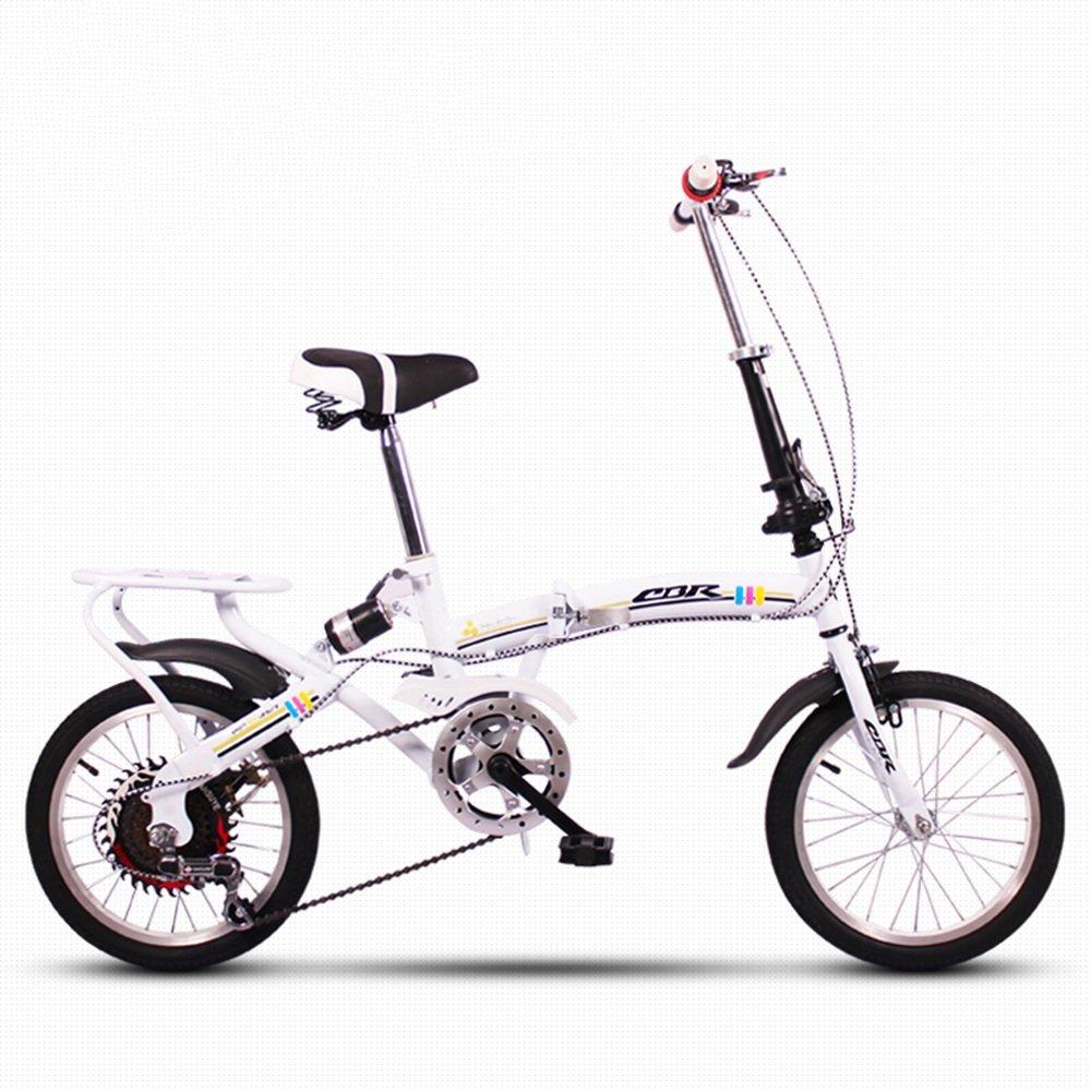 HAIZHEN マウンテンバイク 折りたたみ自転車自転車超軽量ミニ可変速度衝撃吸収16インチ大人の子供の自転車 新生児 B07DS1ZH53 白 白