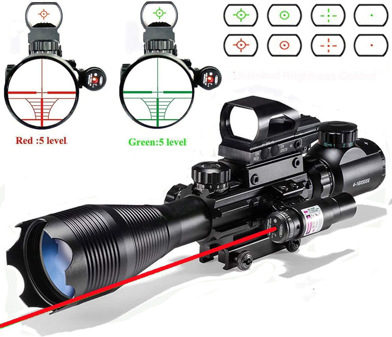 Rifle Scope Combo C4-16x50EG Dual Illuminated with Laser sight 4 Holographic Reticle Red Green Dot for Weaver Rail Mount