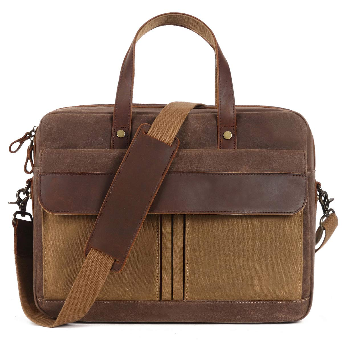 Briefcase for Men,Messenger Bag for Men,15.6inch Laptop Lugagge Carry On Tote,Canvass Computer Large Satchel Shoulder Bags,Vintage Leather Handbag Waterproof for Travel Brown