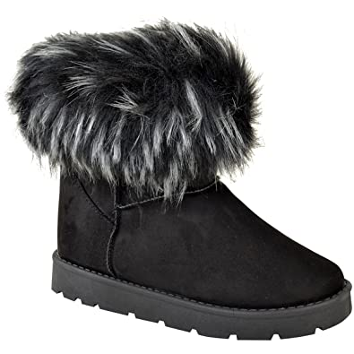Womens Ladies Flat Faux Fur Fluffy Ankle Boots Winter Low Heel Warm Size