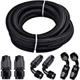 Fuel Line Hose Kit, Nylon Stainless Steel Braided 3/8 Fuel Line 6AN 12FT Oil/Gas/Fuel Hose End Fitting Hose with 6PCS…