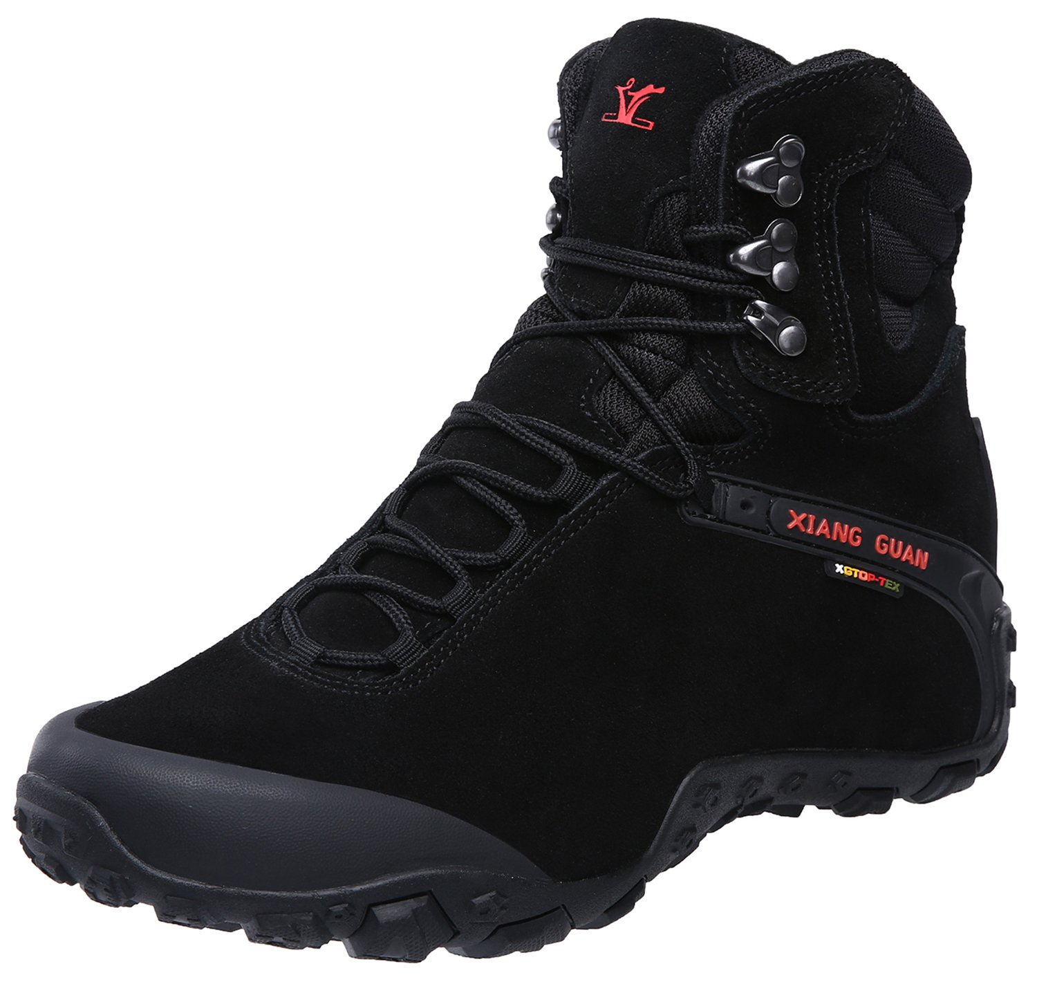 XIANG GUAN Men's Outdoor High-Top Waterproof Trekking Hiking Boots Black 12