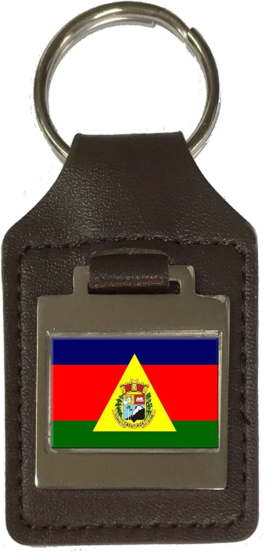 Leather Keyring Engraved Caratinga City Minas Gerais State Flag