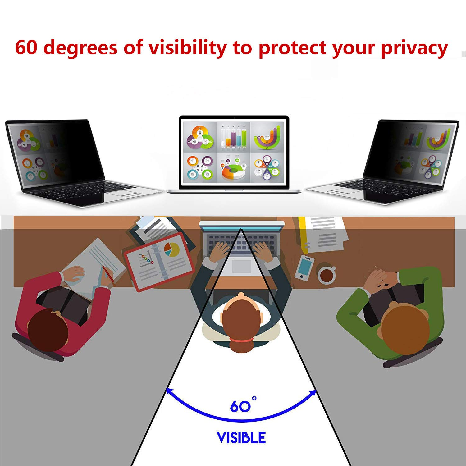 POHEC Privacy Filter. Anti-spy Privacy Screen for 26 Inch Monitor 16:9 Ratio,Anti-Glare Film Screen Filter Protecting Your Computer Confidential Information by POHEC (Image #6)