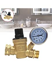 Signstek Water Pressure Regulator, Brass Lead-Free Adjustable Water Pressure Reducer with Gauge for RV, and Inlet Screened Filter,for Home Garden and Campsites