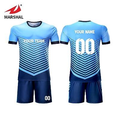 5c083deef Marshal Jersey Custom Soccer Jerseys Set Hot Sublimation Sport Fabric Blue  Design Jersey (XL)