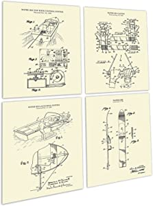 Water Ski Decor Set of 4 Unframed Cream Art Prints of Water Skiing Equipment Invention Drawings Patents_WaterSki_CRM4A