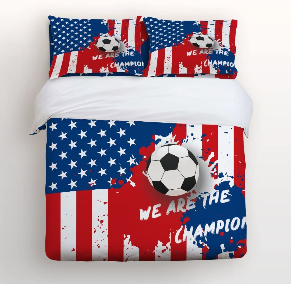Family Decor FIFA World Cup USA Flag Soccer We are Champions Home Bedding Sets 3D Duvet Cover Sets Bedspread for Adult Kids, Flat Sheet, Shams Set 4 Pcs Twin Size for Teens