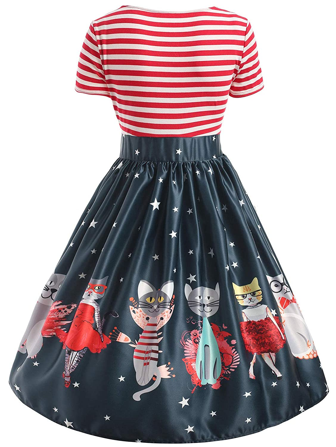59d78b2a7a69 BeautyGal Women's Plus Size Striped Cuted Cat Printed Rockabilly Swing Tee Cocktail  Dress Christmas Costumes