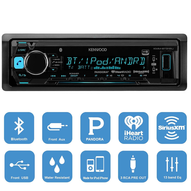 Amazon.com: Kenwood KMMBT315U Stereo Receiver Bundle, 2x Kicker 6.5 ...