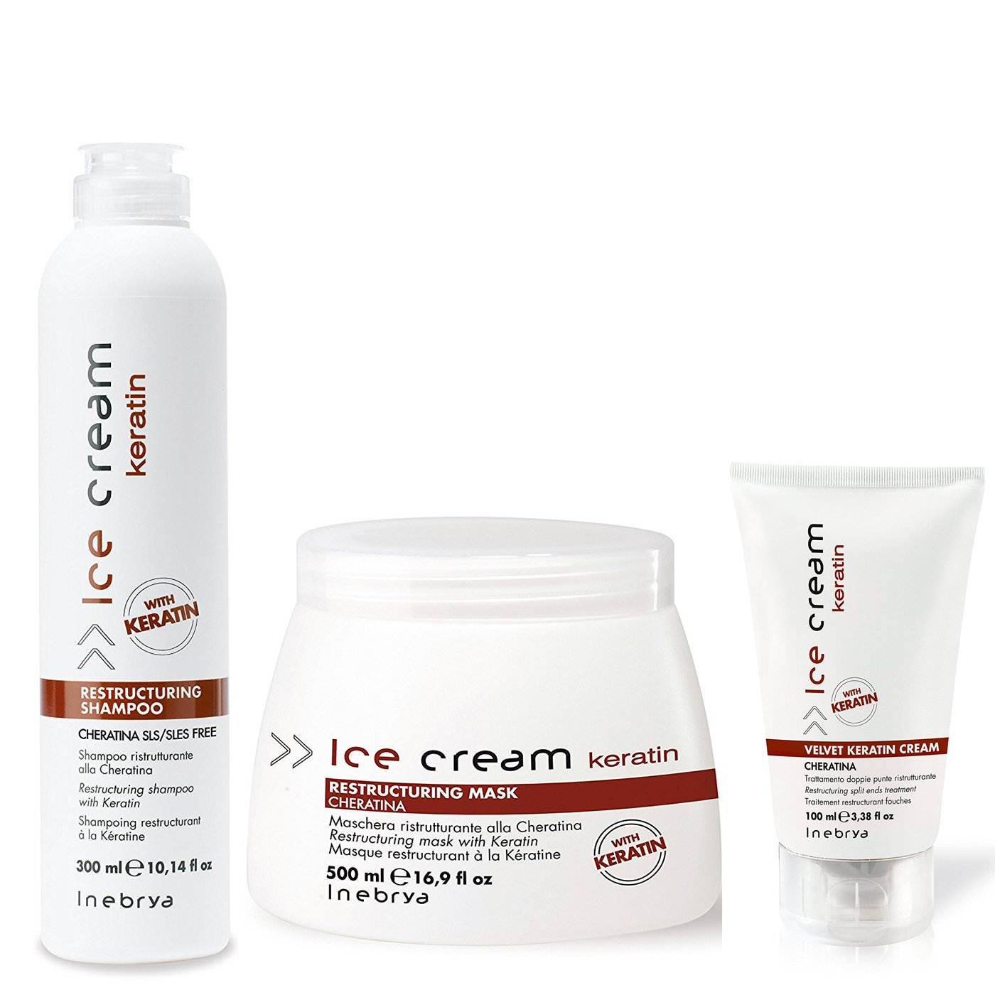 Amazon Inebrya Ice Cream Keratin Shampoo Mask Cream Set Medium