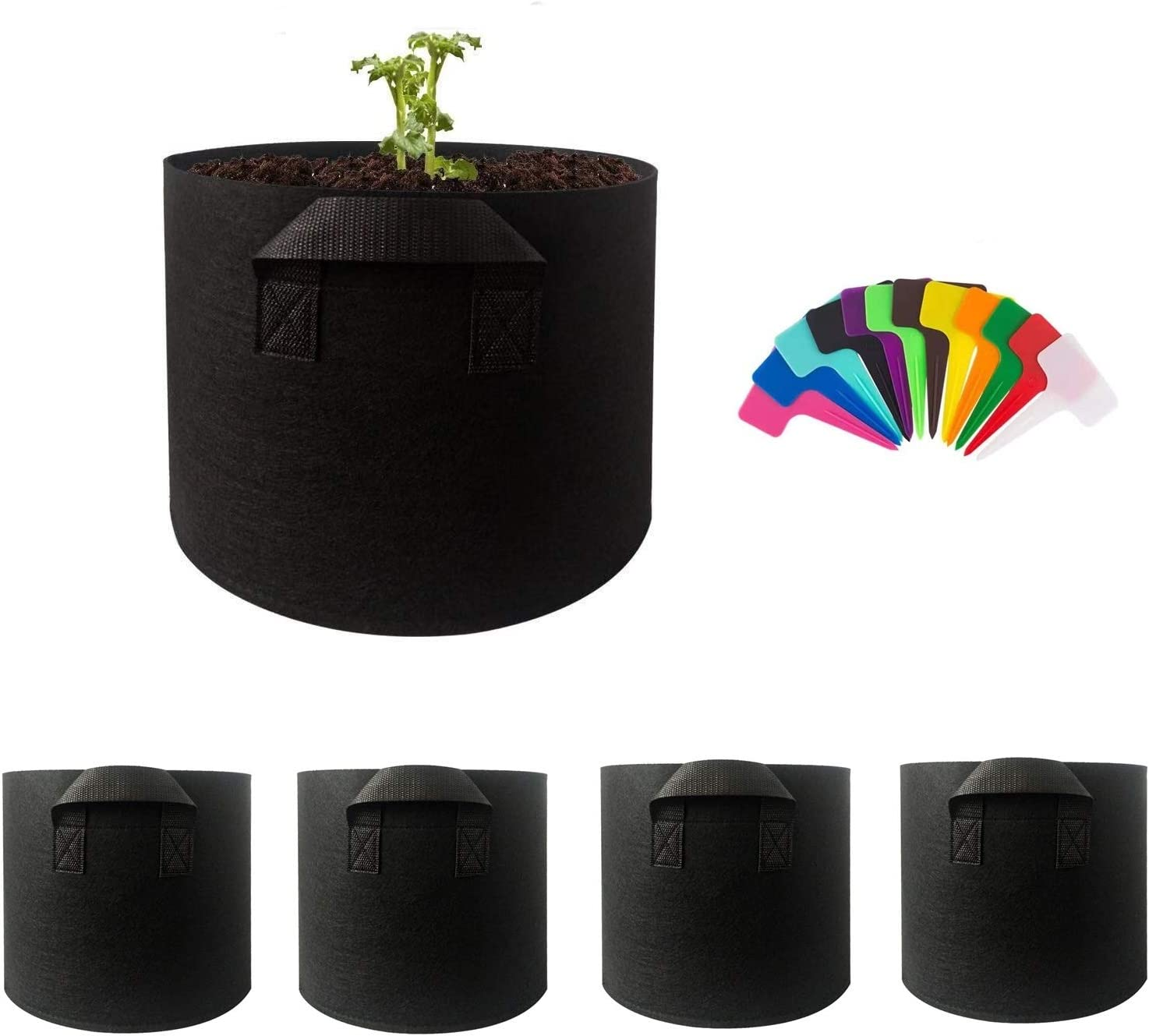 5 Gallon Grow Bags 5 Pack- Heavy Duty Aeration Fabric Pots with Handles and Plant Grow Bags Labels, Potato Grow Bag for Vegetables and Flowers