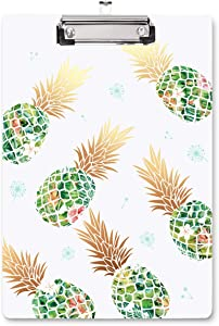 WAVEYU Clipboard Hardboard Office, Cute Clipboard, Decorative Clipboard with Low Profile Clip Design for Women Girl, Retractable Key Hole for Hanging Paperboard for Office School, Green Pineapple