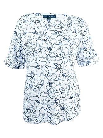 53c5faaf54631 Karen Scott Plus Size Printed Boat-Neck Top (0X) Bright White at ...