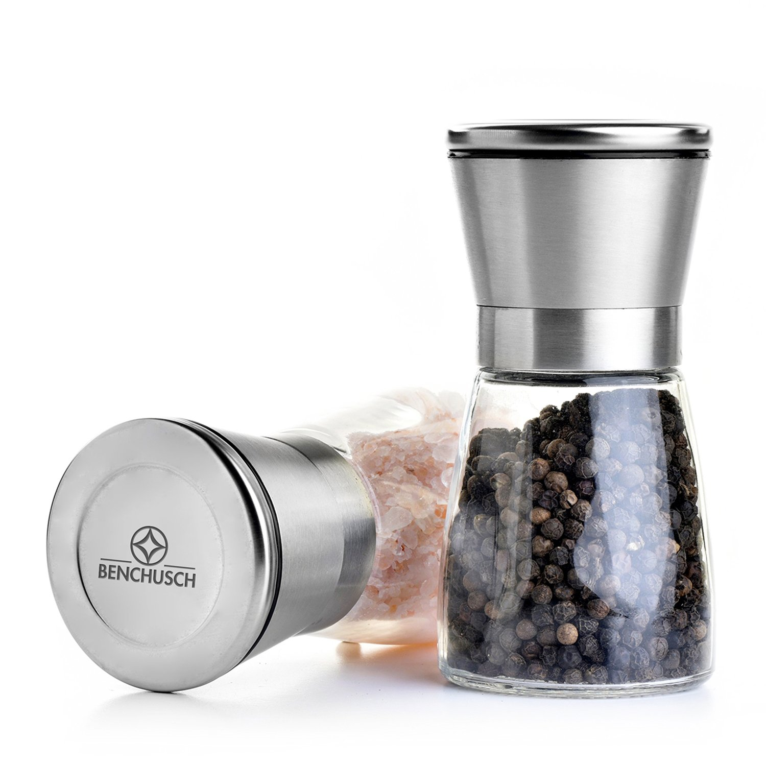 Benchusch Salt & Pepper Mills Set - keep the freshness of your favorite spices, perfect design for your kitchen - make your time in the kitchen easier and more comfortable