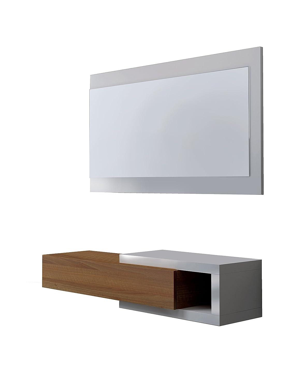 MCD NOON Console d'entrée avec miroir blanc et noyer